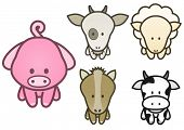 Vector illustration set of different cartoon farm animals. All vector objects and details are isolated and grouped. Colors and transparent background color are easy to adjust.