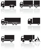 Vector set of different truck symbols. All vector objects are isolated. Colors and transparent backg