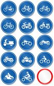 Vector set of different bike and motorbike traffic symbols. All vector objects are isolated. Colors