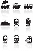 Vector set of different train illustrations or symbols. All vector objects are isolated. Colors and