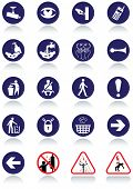 Illustration set of international communication signs. All vector objects and details are isolated a