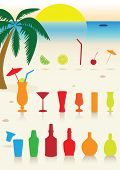 Vector illustration set of tropical drinks, glasses and cocktail decoration. All objects are grouped. Colors are easy to customize.