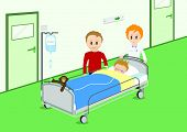 Illustration of a child recovering from operation. All vector objects and details are isolated and grouped. This illustration is a part of a story about a child in hospital.