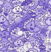 Monochrome graffiti cartoon bizarre funky characters seamless freak texture. Pattern, wallpaper from doodles.