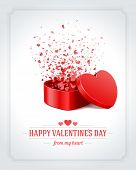 Happy Valentine's day card and open heart gift and flow hearts vector background