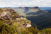stock photo of landslide  - Landslide Lookout on Cliff Drive overlooking the majestic Blue Mountains near Sydney NSW Australia - JPG