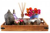 Beauty tray with buddha, colorful flowers and silver