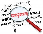 stock photo of honesty  - Transparency Words Magnifying Glass Clarity Accuracy Honesty - JPG