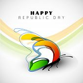 picture of indian flag  - Happy Indian Republic Day concept with beautiful butterfly in national flag colors on wave background - JPG