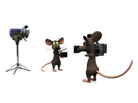 stock photo of clapper board  - A cartoon mouse holding a film clapboard and another mouse filming - JPG