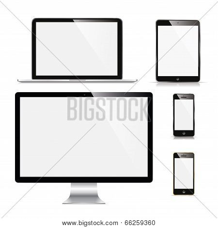 laptop, monitor, tablet and phone poster