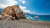 Rocks And Pebble Beach At Bussaglia On West Coast Of Corsica
