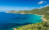 Beach And Coastline At Cargese In Corsica