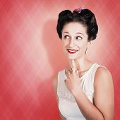 Thinking Fifties Pinup Girl With Old Hairstyle