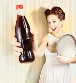 Female Pin-up Waiter Serving Drink At Summer Party