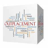 Outplacement 3D Cube Word Cloud Concept