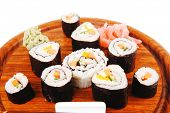 Japanese traditional Cuisine - Roll with Cucumber , Cream Cheese with raw Tuna(maguro) and Salmon(sa