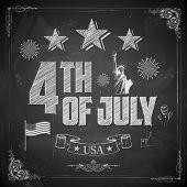 illustration of 4th of July background on chalkboard