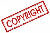 picture of plagiarism  - Copyright red square grungy stamp isolated on white background - JPG