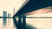 Cable-stayed Bridge Across Daugava River In Riga, Latvia.