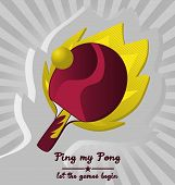 Vector Ping Pong with Flame Background.