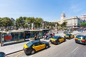 Bus Stop At Plaza De Catalunya In Barcelona