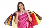 Indian Traditional Woman With Shopping Bags