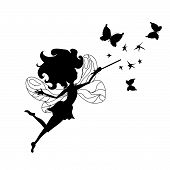 picture of tooth-fairy  - Tooth Fairy silhouette icon with butterflies and stars - JPG