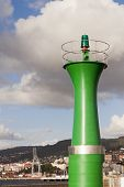 Green Beacon In Vigo Port.