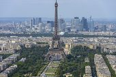 Aerial View Of Eiffel Tower And La Defense Business District Taken From Montparnasse Tower