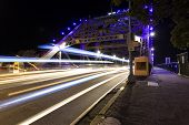 Brisbane Story Bridge night traffic trails