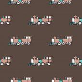 Seamless vintage kids background pattern train illustration in vector