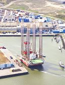 Ijmuiden, The Netherlands - April 15: Aerial View On Offshore Island In Harbour Of Ijmuiden, The Net