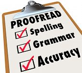 stock photo of grammar  - Proofread checklist and checked boxes next to the words spelling - JPG