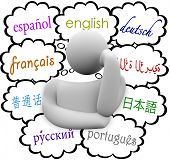 languages thought clouds thinker english, spanish, german, french, chinese, russian  japanese