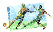 Colorful mosaic illustration of men playing football
