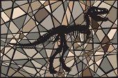 Mosaic illustration of the skeleton of a Tyrannosaurus rex dinosaur suggesting a fossil