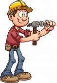 Construction worker hammering a nail. Vector clip art illustration with simple gradients. All in a s