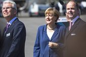 BERLIN, GERMANY - MAY 20, 2014: German Chancellor Angela Merkel (C) open up the International aviati