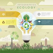 Flat Design Ecology Bulb Infographics