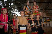 SARAWAK, MALAYSIA: JUNE 1, 2014: Children from the Bidayuh tribe, an indigenous native people of Bor