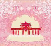 Abstract Card With Asian Buildings , Vintage Frame