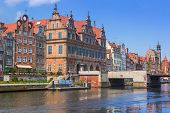 GDANSK, POLAND - 20 MAY: Old town of Gdansk at Motlawa river on 20 May 2014. Gdansk is the historica