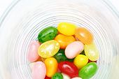 sweet candy jelly beans in glass this colorful