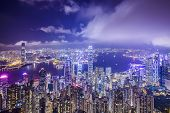 Hong Kong, China city skyline from Victoria Peak.