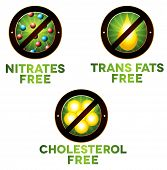 Vivid Diet Icon Set, Food Intolerance Such As Nitrates Free, Trans Fats Free And Cholesterol Free