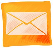 Vector mail icon with orange background