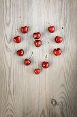 Heart-shaped cherries