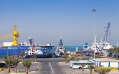 Ras Tanura, Saudi Arabia - May 21, 2014: Port View With Moored Ships, Saudi Arabia