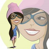 Happy cartoon girl with glasses